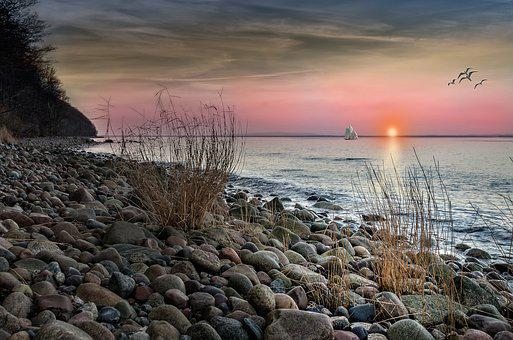 Beach, Sea, Sunset, Abendstimmung, Baltic Sea, Ship