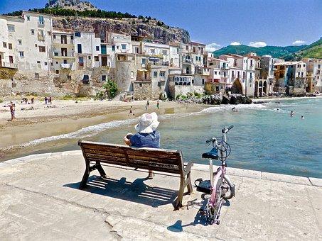 Cefalu, Seaside, Solo, Sicily, Vista, Outlook, Calm