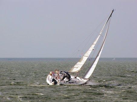 Sailing Boat, Sailing, Solo Sailor, Horizon, Offing