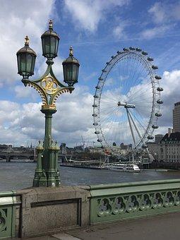 London, Ferris Wheel, Streetlight, Bro, London Eye