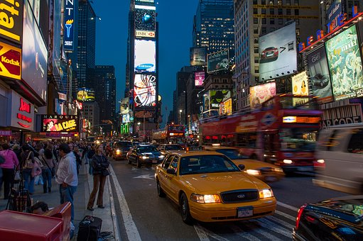 Time Square, New York City, Manhattan, Taxi, Yellow Cab