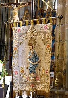 Banner, Virgin Tape, Religious Image, Tortosa