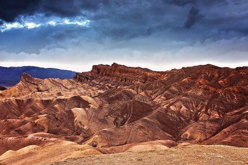 Sunset, Death Valley, California, Landscape, Dark