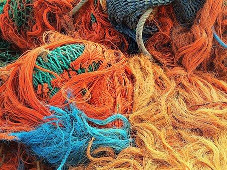 Fishing Net, Fish, Fishing, Orange, Fischer, Colorful