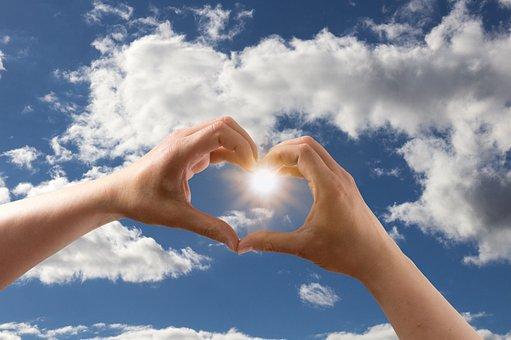 Love, Heart, Form, Hands, Keep, Sky, Clouds, Blue, Sun