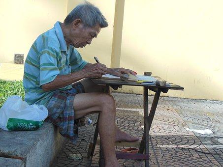 Old Man, Vietnam, Copy Fonts, Work