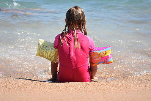 Child, Sea, Girl, Beach, People, Uv-resistant Clothing