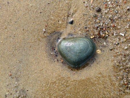 Stone, Beach, Sand, Heart, Sea, Pebble, Water, Coast