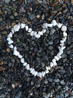 Heart, Stones, Beach, Black And White, Pebbles, Summer