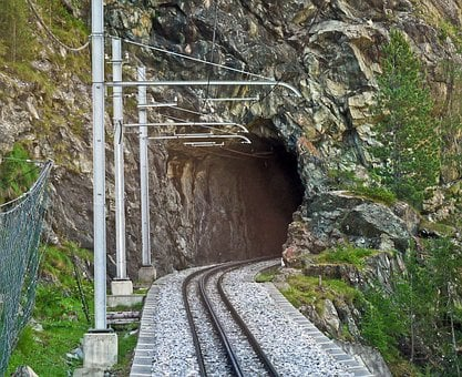 Tunnel Entrance, Gornergratbahn, Rack Railway, Rock