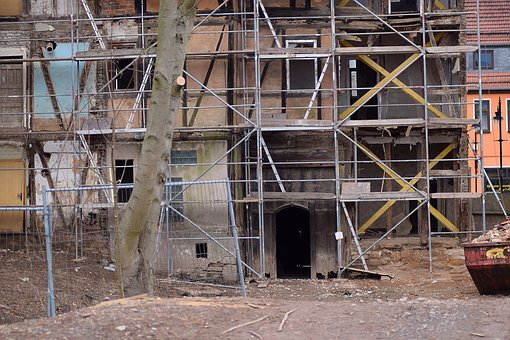 Rehabilitation, Old Building, Scaffold, Site