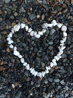 Heart, Stones, Beach, Black And White, Pebbles, Summer