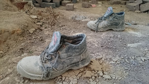 Boots, Mud, Cement, Building, Renovations, Bricks