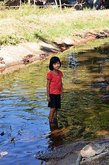 Girl, Water, Rubber Boots, Close, Child