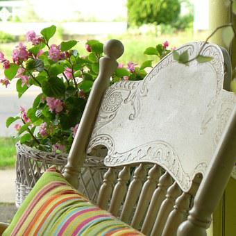 Porch, Summer, Front Porch, Rocking Chair, Rustic, Wood