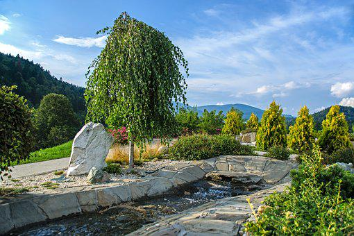 Garden, Brook, Fountain, Sunset, Mountains, Summer