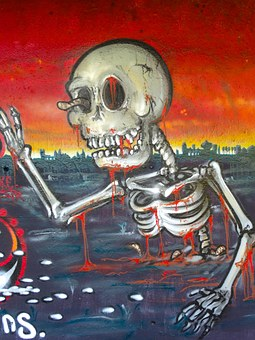 Graffiti, Skeleton, Death, Setting, End Of The World