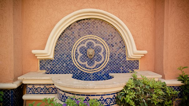 Lion Fountain, Mosaic, Fountain, Lion, Oriental