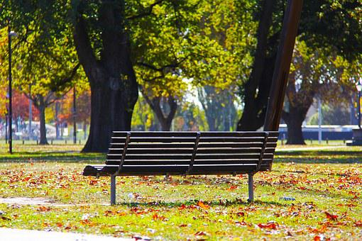 Bench, Blue, Sky, City, Autumn, Beautiful, Love