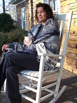Souther, Native, Woman, Rocking Chair, Coffee, Shawl