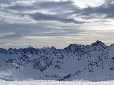 Alpine, Mountain Range, Panorama, Clouds, Snow