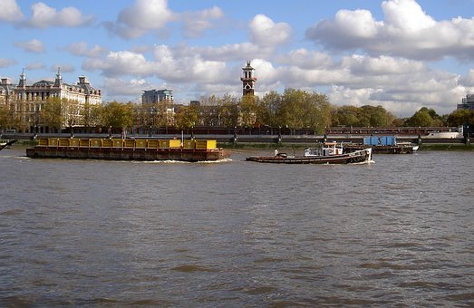 River Thames, Tug, Barge, Sky, Clouds, Thames, River