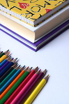 Back To School, Pencils, Rainbow, Art, School Supplies