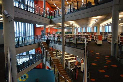 Library, Books, Floors, Stairs, School, Education