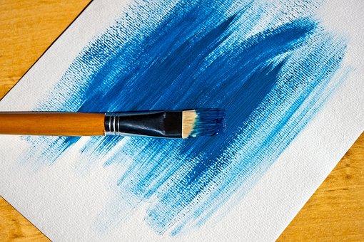 Paint, Blue, Table, White, Color, Paper Rustic, Brush
