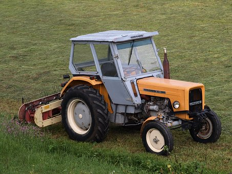 Tractor, Village, Working On The Field, Grass, Meadow