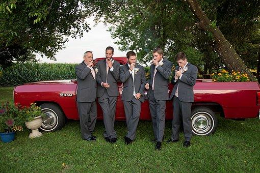 Cigar, Groomsman, Male, Wedding Party, Friends, Groom