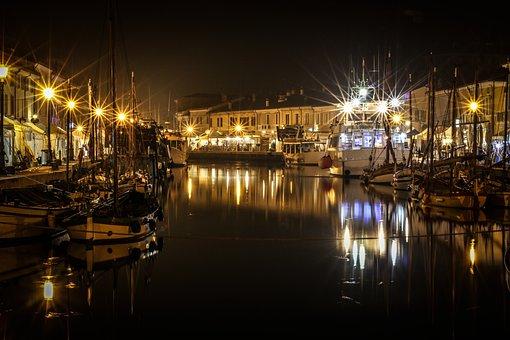 Evening, Lights, Boats, Sea, Italy, Porto, Visit, Ships