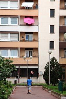 City, Boy, Park, Skyscraper, Still Life, Colmar, France
