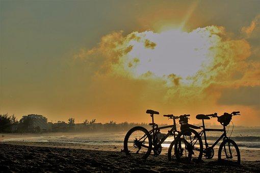 Cycling, Sport, Mar, Beach, Sol, Summer, Pedal, Ride