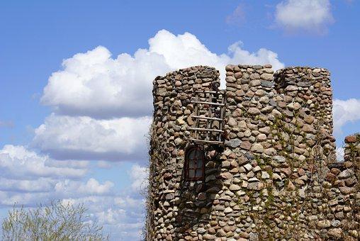 Tower, Castle, Lake Dusia, Architecture, The Stones
