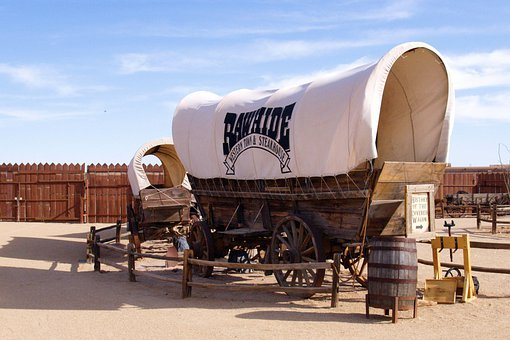 Wagon, Covered, Transportation, Wild West, Chuck Wagon