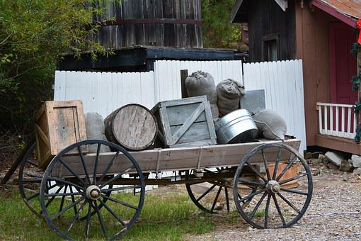 Wagon, Rustic, Crate, Wood, Old, Pioneer, Western
