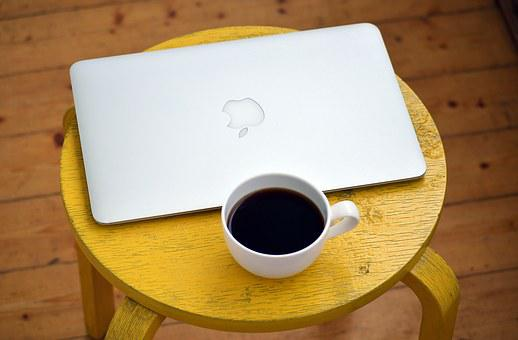 Laptop, Computer, Coffee, Yellow, Stool, White