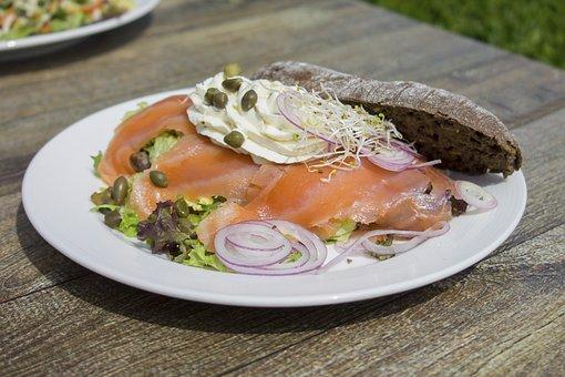Salmon, Fish, Breakfast, Food, Board, Formatting