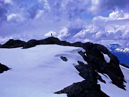 Snow Capped Mountain, Cloudy Skies, Hiking