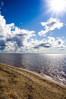The Bright Sun, Sand, Beach, Sea, Water, Clouds