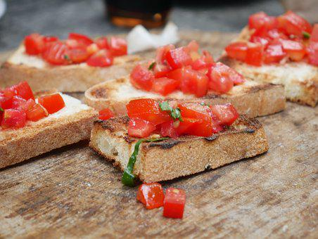 Bruschetta, Tomato, Caprice, Grilled, Bread, Garlic
