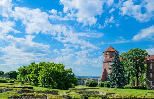Krakow, City, Castle, Poland, Europe, Clouds, Sights