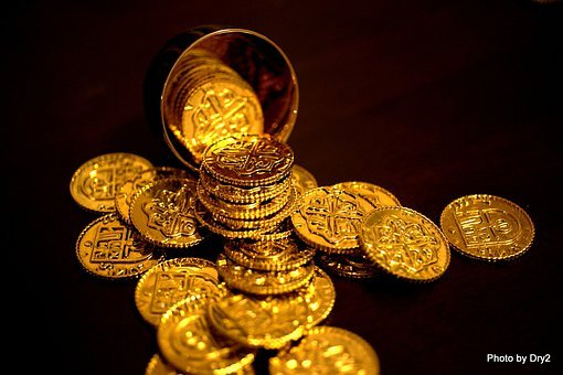Bitcoin, Coins, Gold, Money, Currency, Wealth, Rich