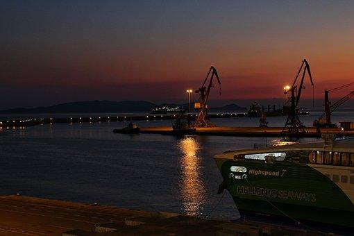 Port, Crete, Heraklion, Cranes, Evening, Abendstimmung