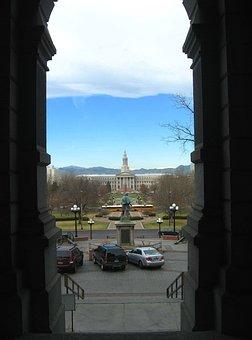 Denver, Colorado, Sky, Clouds, Mountains, Capitol