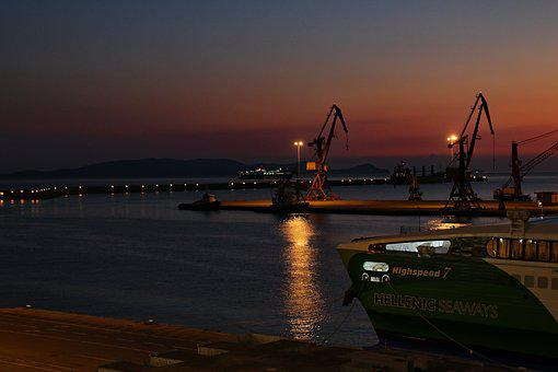 Port, Crete, Heraklion, Cranes, Evening, Abendstimmung
