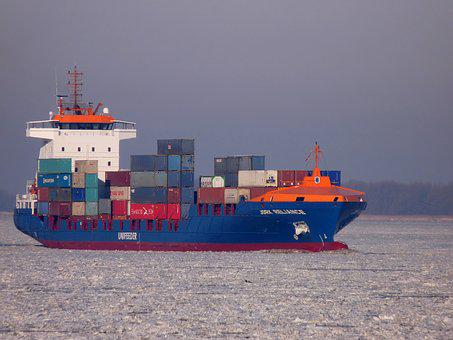 Ship, Container, Elbe, Seafaring, Port, Container Ship