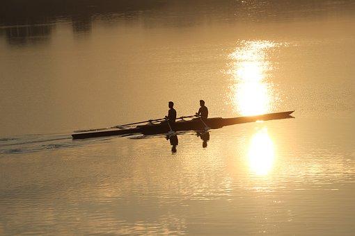 Sculling, Chandigarh, Water, Lake, Sukhna, Morning