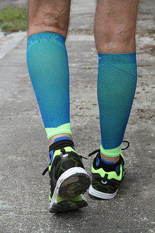 Foot Race, Runner, Calves, Contention, Blue, Man